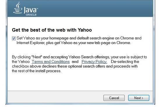 Oracle on päättänyt korvata Ask:n Yahoo:lla! Java päivityksissä kuvankaappaus