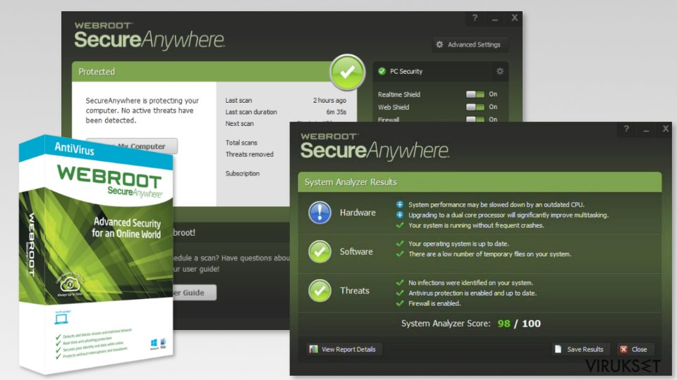 Screenshot of Webroot SecureAnywhere AntiVirus