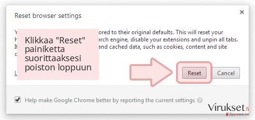 Klikkaa 'Reset' painiketta suorittaaksesi poiston loppuun
