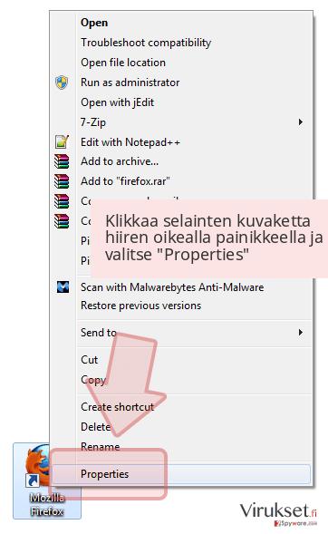 Klikkaa selainten kuvaketta hiiren oikealla painikkeella ja valitse 'Properties'