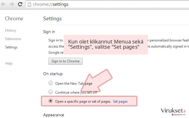 Kun olet klikannut Menua sekä 'Settings', valitse 'Set pages'