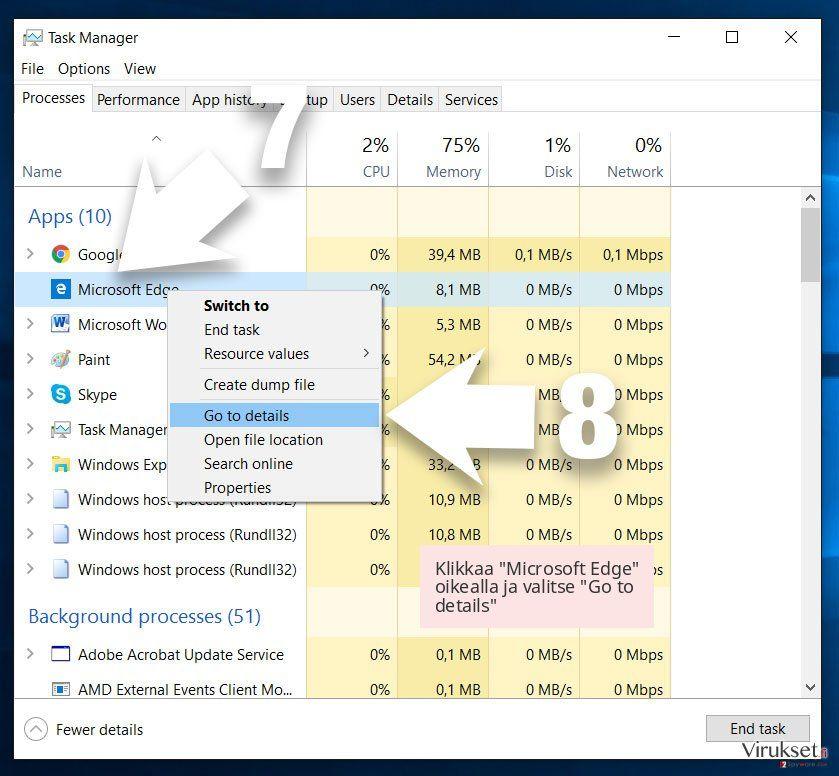 Klikkaa 'Microsoft Edge' oikealla ja valitse 'Go to details'