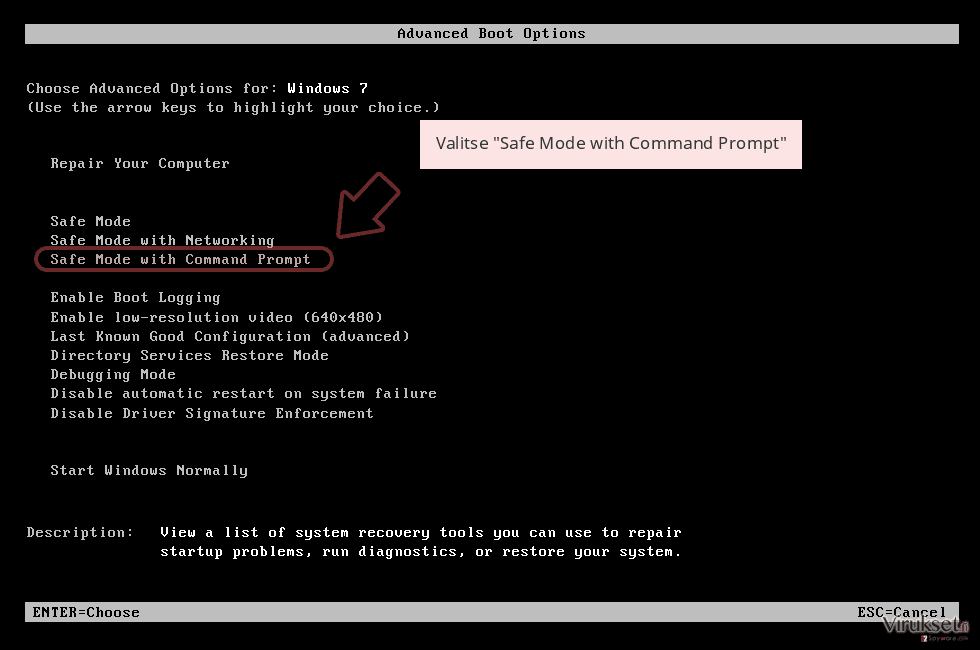 Valitse 'Safe Mode with Command Prompt'
