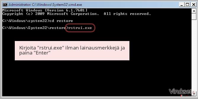 Kirjoita 'rstrui.exe' ilman lainausmerkkejä ja paina 'Enter'