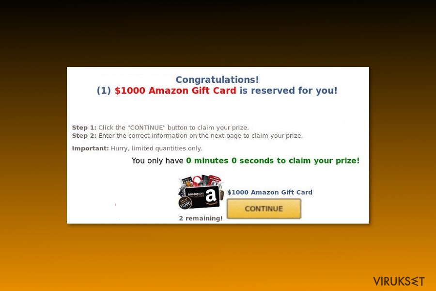 "Esimerkki ""$1000 Amazon Gift Card is reserved for you"" viruksesta"