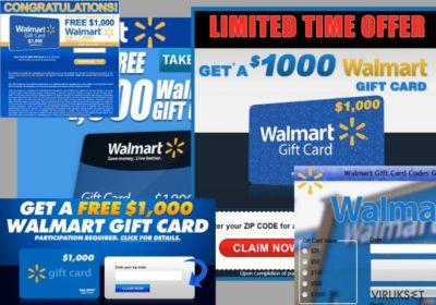 Esimerkkejä $1000 Walmart Gift Card Winner  mainoksista