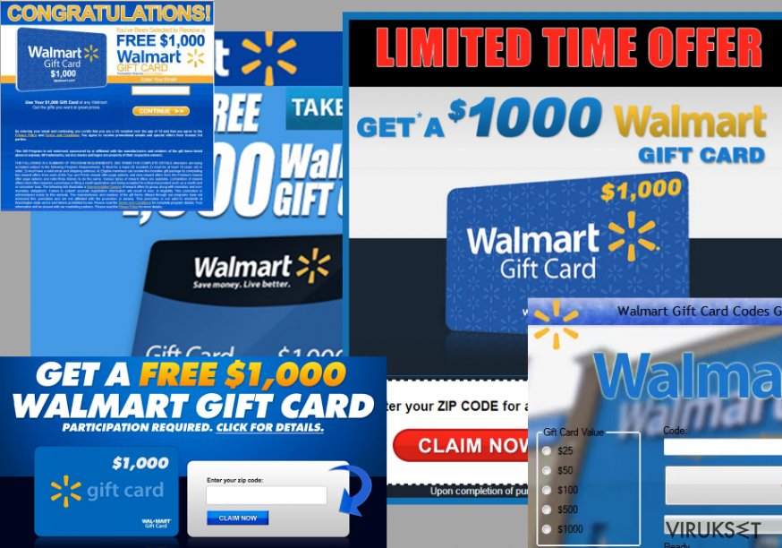 Examples of $1000 Walmart Gift Card Winner ads