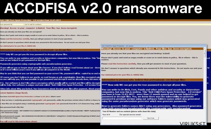 An illustration of the ACCDFISA v2.0 ransomware virus