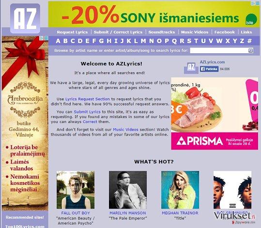 AZLyrics mainokset kuvankaappaus