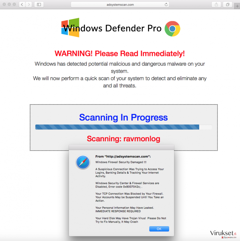 ads by Adsystemscan.com virus popping up fake alerts on computer screen