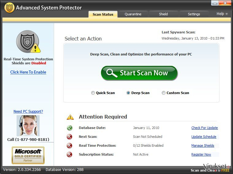 Advanced System Protector kuvankaappaus