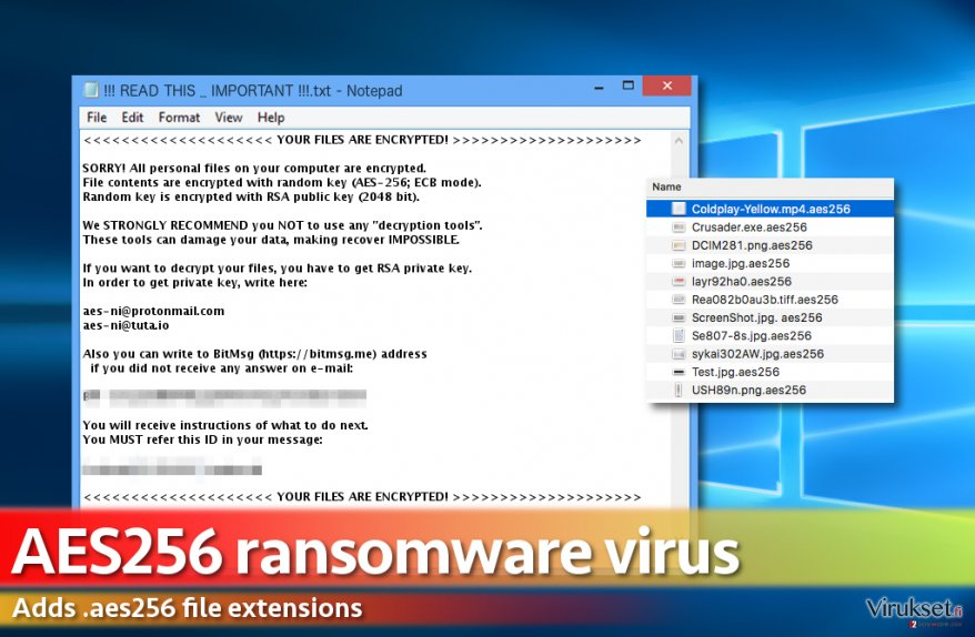 Aes256 ransomware message