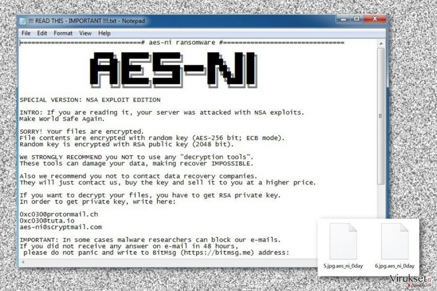 Ransom note by .Aes_ni_0day file extension virus