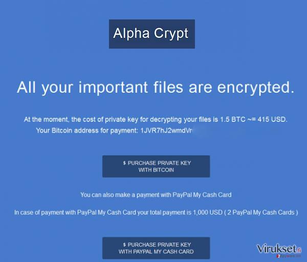 Alpha Crypt virus kuvankaappaus