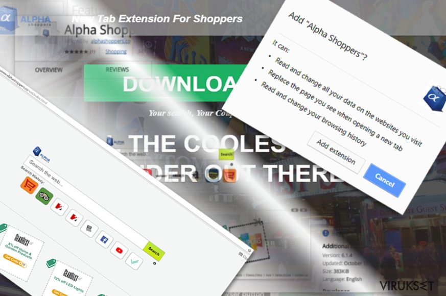 Kuva, joka näyttää AlphaShoppers laajennuksen sekä pääsivun