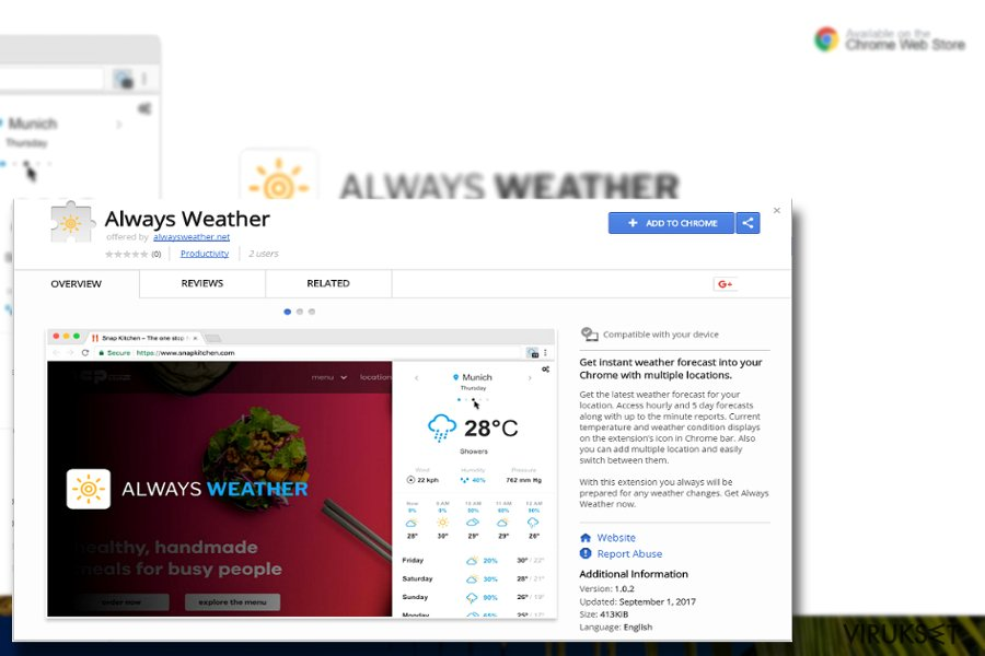 The image displaying Always Weather plug-in