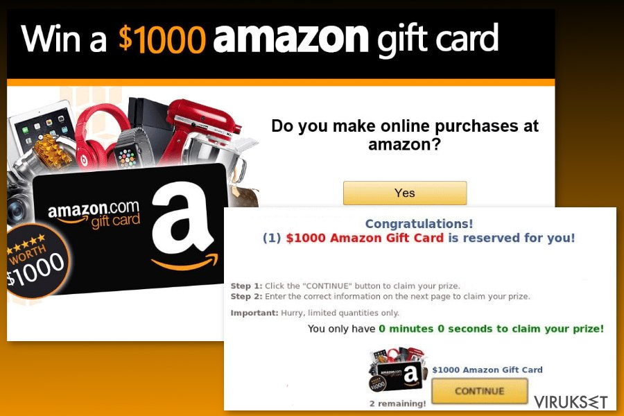 Amazon Gift Card virus esimerkki