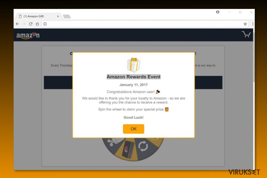 "Esimerkki ""Amazon Rewards Event"" huijauksesta"