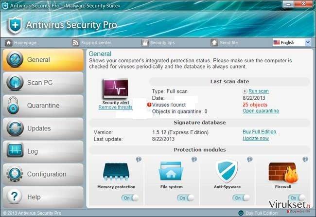 Antivirus Security Pro kuvankaappaus