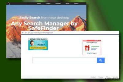 Kuva nettiselaimesta, jonka Any Search Manager on kaapannut
