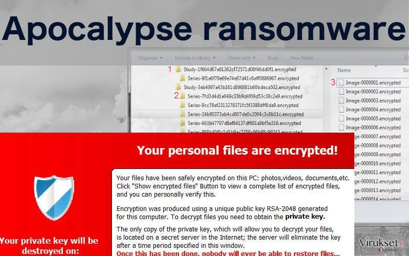 Image showing files encrypted by Apocalypse ransomware