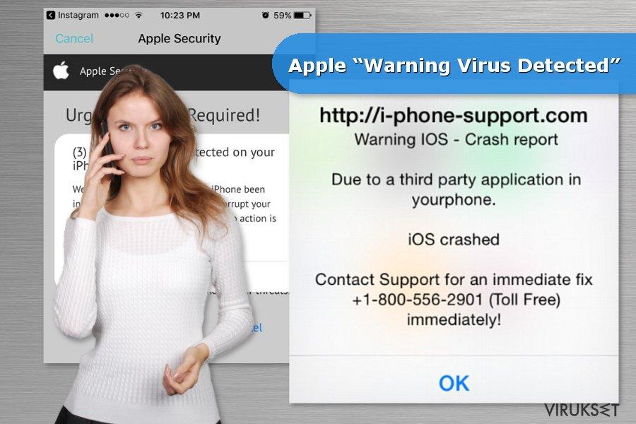 """Esimerkkejä Apple """"Warning Virus Detected"""" huijauksesta"""