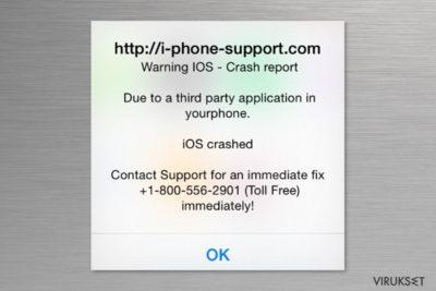 """Apple """"Warning Virus Detected"""" viruksen kuvankaappaus"""
