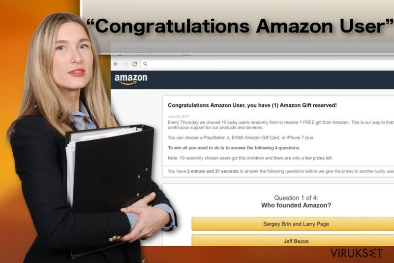 """Congratulations Amazon User"" mainosohjelma viruksen kuva"