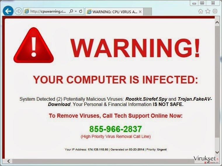 CpuWarning.com pop-up virus kuvankaappaus