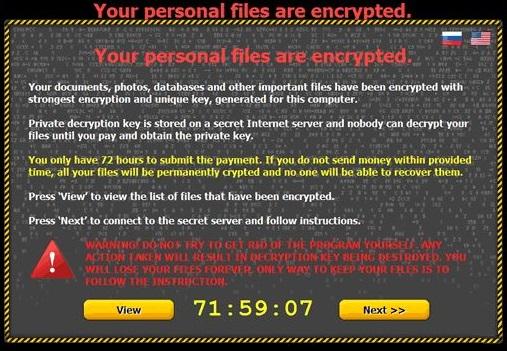 Critroni Ransomware kuvankaappaus