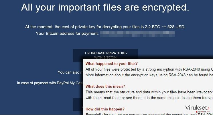 Crypted ransomware commands to pay up