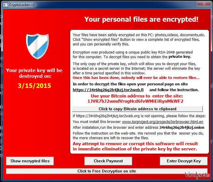 Cryptolocker-v3 virus kuvankaappaus