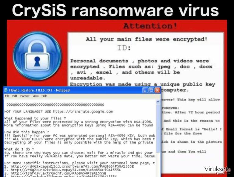 CrySiS lunnasohjelma virus kuvankaappaus