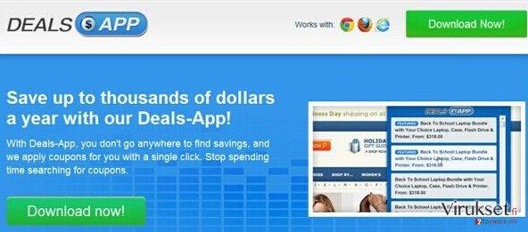 Deals App Mainokset kuvankaappaus