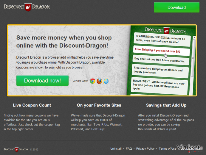 'Ads by Discount Dragon' virus kuvankaappaus