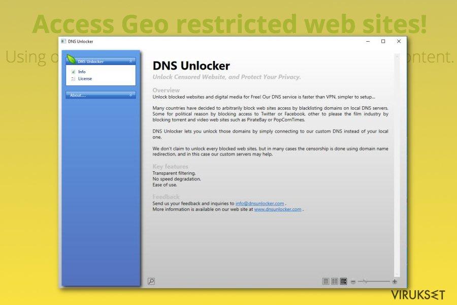 DNS Unlocker mainosohjelma kuvankaappaus