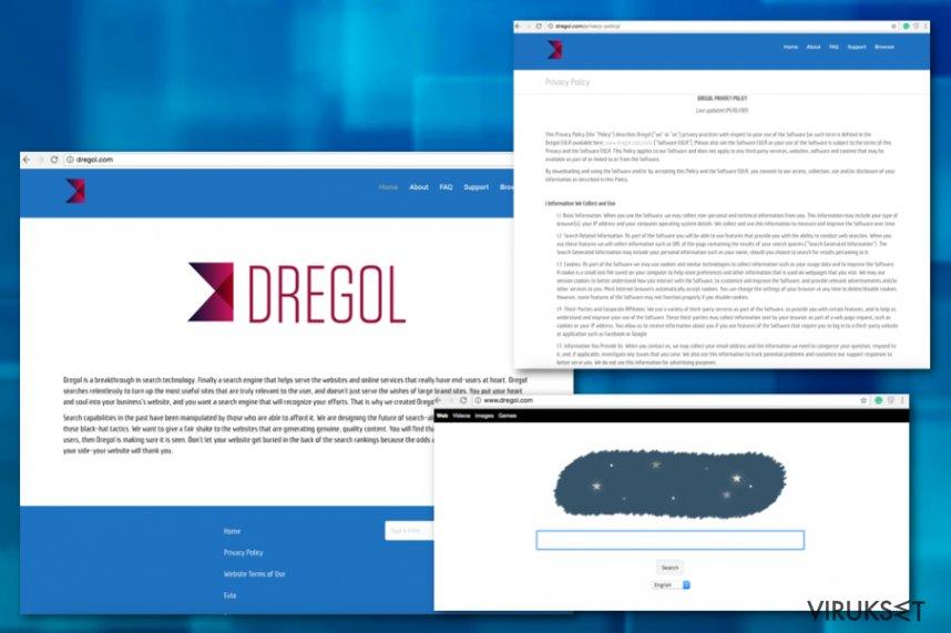 Dregol.com uudelleenohjaus kuvankaappaus