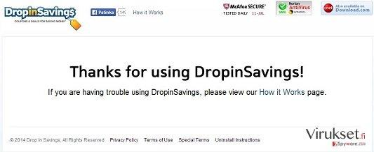 DropinSavings virus kuvankaappaus