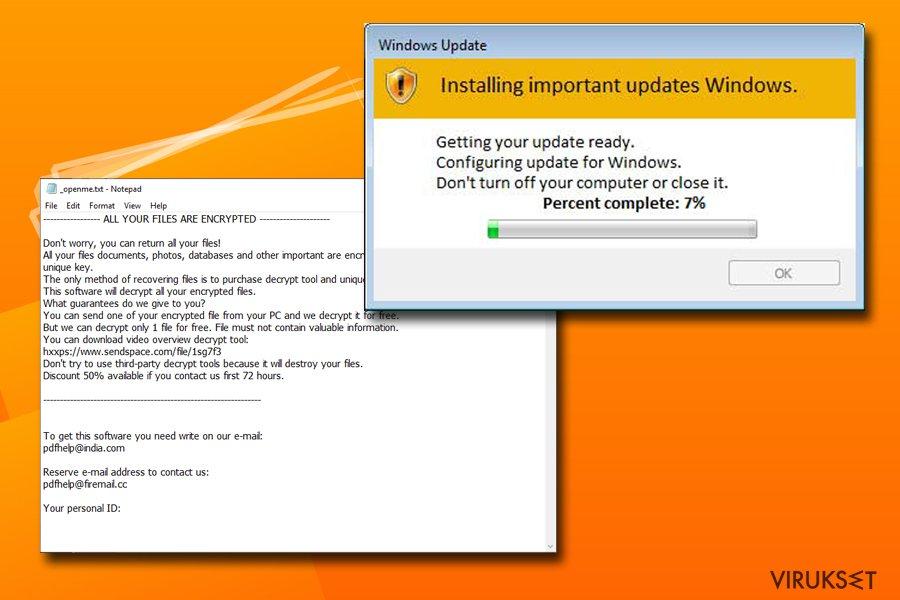Djvu lunnasohjelma käyttää Windows Päivityksiä