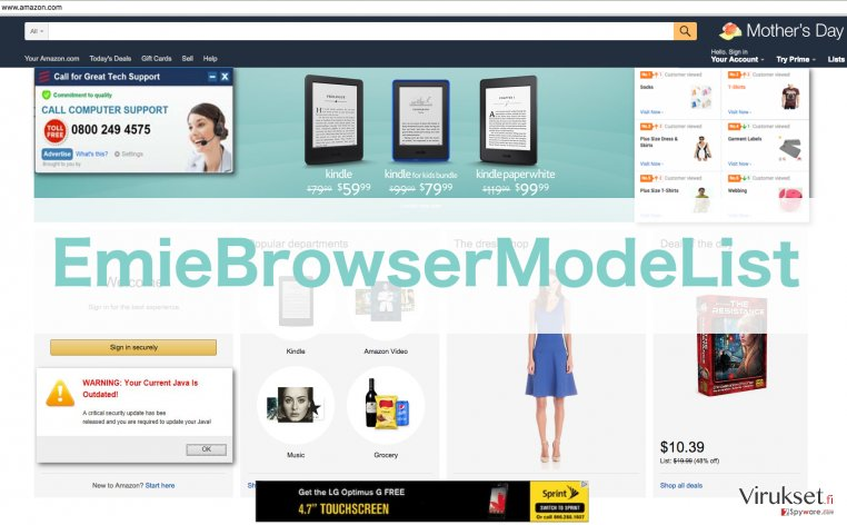 An illustration of ads injected by EmieBrowserModeList virus