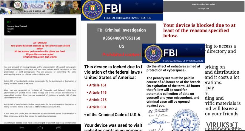 Android virus esimerkit