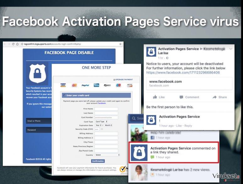Facebook Activation Pages Service virus illustration