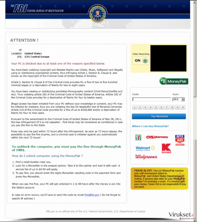 FBI Moneypak kuvankaappaus