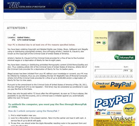 FBI PayPal virus kuvankaappaus