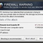 """Firewall Warning"" Pop up kuvankaappaus"