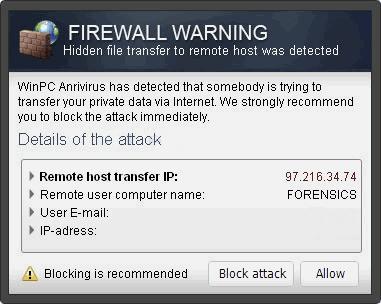 """Firewall Warning"" Pop up kuvankaappaus"