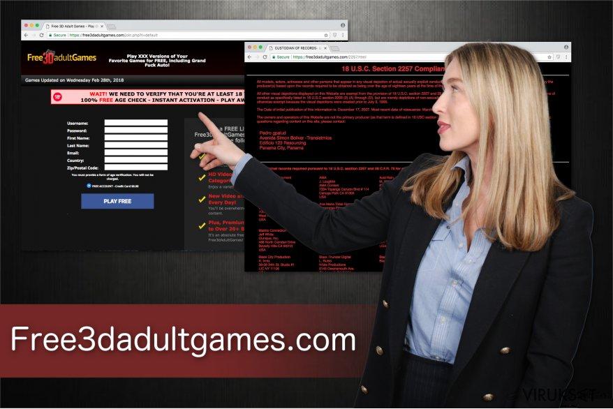 Kuvassa Free3dadultgames.com aikuispeli alusta