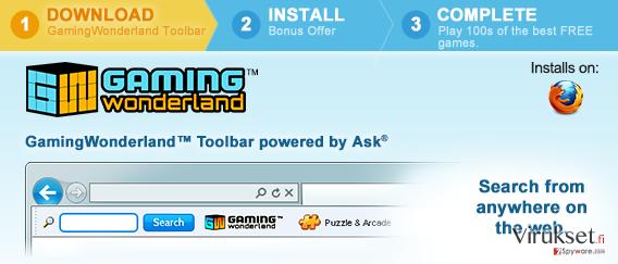 Gaming Wonderland Työkalupalkki kuvankaappaus