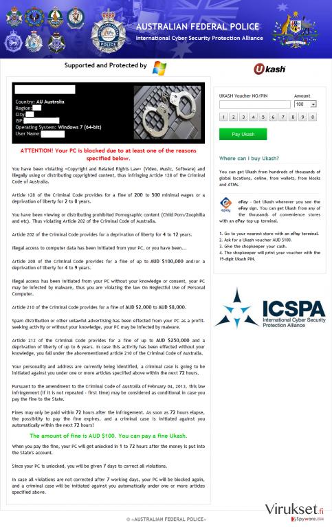 ICSPA virus kuvankaappaus