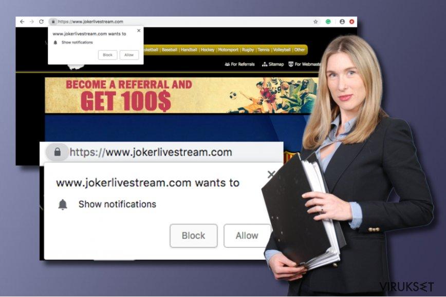 Jokerlivestream.com potentiaalisesti ei toivottu ohjelma